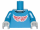Part No: 973pb1815c01  Name: Torso Shirt with Red Wings and 2 x 2 Brick Pattern / Blue Arms / Light Bluish Gray Hands