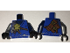 Part No: 973pb2517c01  Name: Torso Ninjago Brown Rope, Gold Medallion and Silver Armor Front, Scabbards on Back Pattern / Dark Blue Arm Left / Flat Silver Arm Right / Black Hands