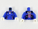 Part No: 973pb3429c01  Name: Torso Female Bodysuit, Dark Pink Trim, White Rabbit Head in Dark Pink Circle, 8 Dark Blue Vertical Stripes Pattern / Blue Arms / White Hands