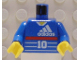Part No: 973px26c01  Name: Torso Soccer Adidas Logo, Red Stripe, Number 10, Zidane on Back Pattern / Blue Arms / Yellow Hands