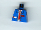 Part No: 973px32  Name: Torso Train Suit Open, Notepad, Red Long Tie and Logo Pattern