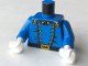 Part No: 973px41c01  Name: Torso Western Cavalry Uniform, 12 Buttons, 2 Gold Stars on Collar Pattern / Blue Arms / White Hands