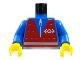 Part No: 973px8c01  Name: Torso Train Red Vest Pattern / Blue Arms / Yellow Hands