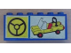 Part No: BA003pb09  Name: Stickered Assembly 6 x 1 x 2 with Steering Wheel and Yellow Car Pattern (Sticker) - Set 6390 - 2 Bricks 1 x 6