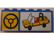 Part No: BA003pb12  Name: Stickered Assembly 6 x 1 x 2 with Steering Wheel and Yellow Car Pattern (Sticker) - Set 10041 - 2 Bricks 1 x 6