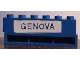 Part No: crssprt02pb73  Name: Brick 1 x 6 without Bottom Tubes with Cross Side Supports with Blue in White 'GENOVA' Pattern