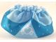 Part No: dupskirt14  Name: Duplo, Figure Wear & Utensil Cloth Skirt Satin Layered with Bright Light Blue Peplum, White Heart and Stars Pattern