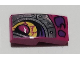 Part No: 11477pb091R  Name: Slope, Curved 2 x 1 with Magenta and Silver Dragon Eye Pattern Model Right Side