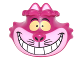 Part No: 26026pb01  Name: Minifigure, Head Modified Cheshire Cat with Wide Grin, Bright Light Pink Muzzle, and Yellow Eyes Pattern