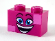 Part No: 3004pb186  Name: Brick 1 x 2 with Dark Azure Eyes, Raised Eyebrows, Wide Open Smile and Dark Pink Squares on Two Corners Pattern (Queen Watevra Wa'Nabi Face)