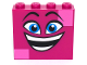 Part No: 49311pb01  Name: Brick 1 x 4 x 3 with Dark Azure Eyes, Raised Eyebrows, Wide Open Smile and Dark Pink Squares on Two Corners Pattern (Queen Watevra Wa'Nabi Face)