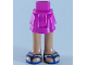 Part No: 92250c00pb17  Name: Mini Doll Friends Hips and Layered Skirt, Medium Dark Flesh Legs and Dark Blue Sandals with Double Straps Pattern