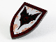 Part No: 18836pb04  Name: Minifigure, Shield Triangular Long with Dark Red Edge, Silver Front with Black Bat Pattern