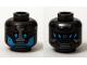 Part No: 3626cpb1303  Name: Minifigure, Head Alien with Blue Eyes and Mouth and Silver Plates Pattern - Hollow Stud