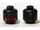 Part No: 3626cpb1308  Name: Minifigure, Head Alien with Red Eyes and Mouth Pattern - Hollow Stud