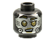 Part No: 3626cpb2821  Name: Minifigure, Head Alien Robot Silver Face, Gold Eyebrows, Eyes and Lips, Left Eye Squint, Phillips Screw on Cheeks Pattern - Hollow Stud