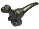 Part No: 37829pb04  Name: Dinosaur, Baby, Standing with Lime Markings and Yellow Eyes Pattern