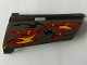 Part No: 44350pb024  Name: Technic, Panel Fairing #20 Large Long, Small Hole, Side A with Orange and Red Flames on Dark Gray Background Pattern (Sticker) - Set 8649
