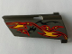Part No: 44351pb024  Name: Technic, Panel Fairing #21 Large Long, Small Hole, Side B with Orange and Red Flames on Dark Gray Background Pattern (Sticker) - Set 8649