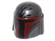 Part No: 87610pb05  Name: Minifigure, Headgear Helmet with Holes, SW Mandalorian with Dark Red Visor and Black Handprint Pattern
