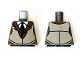 Part No: 973pb2062  Name: Torso White Shirt with Black Tie, Reddish Brown Jacket Collar and Silver Vest Pattern