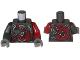 Part No: 973pb2727c01  Name: Torso Ninjago Female Armor with Clock and Dark Red Snakes Pattern / Dark Red Arm Left / Pearl Dark Gray Arm Right / Dark Bluish Gray Hands
