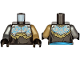 Part No: 973pb3925c01  Name: Torso Armor, Silver Plate with Dark Azure Curly Lines over Robe and Dark Tan Fur Pattern / Dark Tan Arm Left / Flat Silver Arm Right / Black Hands