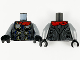 Part No: 973pb3928c01  Name: Torso Armor with 6 Metallic Silver Disks with Gold Edge, Red Cape and Detailed Back Pattern / Flat Silver Arms / Black Hands