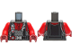 Part No: 973pb4193c01  Name: Torso Diving Suit with Red Zipper, Black Harness with Silver Buckle, Gauges and Regulator Pattern / Red Arms / Dark Red Hands