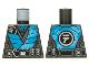 Part No: 973pb4218  Name: Torso Tunic Pearl Dark Gray Ninjago Logogram 'N', Dark Azure Panels, Dark Bluish Gray Mesh and Belt Pattern