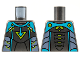 Part No: 973pb4319  Name: Torso Medium Azure Shoulders and Arrow, Lime Triangle and Trim, Sand Blue Side Panels Pattern