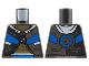 Part No: 973pb4340  Name: Torso Jacket, Gold Chest, Silver Zipper Circuitry, Left Panel, Blue Trim Pattern