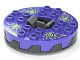 Part No: bb0549c01pb01  Name: Turntable 6 x 6 Round Base Serrated with Dark Purple Top and Lime, White and Dark Green Venomari Pattern (Ninjago Spinner)