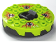 Part No: bb0549c02pb01  Name: Turntable 6 x 6 Round Base Serrated with Lime Top and Red, White and Black Fangpyre Pattern (Ninjago Spinner)