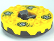Part No: bb0549c04pb01  Name: Turntable 6 x 6 Round Base Serrated with Yellow Top and White and Dark Blue Hypnobrai Pattern (Ninjago Spinner)