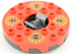 Part No: bb0549c08pb01  Name: Turntable 6 x 6 Round Base Serrated with Red Top and Red, White, Yellow and Black Fangpyre Pattern (Ninjago Spinner)