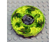 Part No: bb0549c10pb01  Name: Turntable 6 x 6 Round Base Serrated with Trans-Neon Green Top and Green with Red Spots Pattern (Ninjago Spinner)