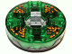 Part No: bb0549c12pb01  Name: Turntable 6 x 6 Round Base Serrated with Trans-Green Top and Black and Orange Pattern (Ninjago Spinner)