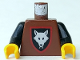 Part No: 973p44c02  Name: Torso Castle Wolfpack Pattern / Black Arms / Yellow Hands