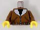 Part No: 973pa5c01  Name: Torso Bomber Jacket, Belt, & Black Shirt Pattern / Brown Arms / Yellow Hands