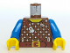 Part No: 973pb0092c01  Name: Torso Castle Dark Forestman Studded Shirt and Brown Crossbelt Pattern / Blue Arms / Yellow Hands
