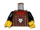 Part No: 973pb0727c01  Name: Torso Castle Knights Kingdom Wolf Head, Studded Armor, Red Collar Pattern / Black Arms / Yellow Hands