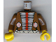 Part No: 973px107c01  Name: Torso Western Indians Red and White Armor and White Belt Pattern / Brown Arms / Yellow Hands