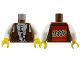 Part No: 973px190ac01  Name: Torso Adventurers Desert Vest over White Shirt, Slingshot Pattern - LEGO Logo on Back / White Arms / Yellow Hands