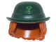 Part No: 27160pb01  Name: Minifigure, Hair Combo, Hat with Hair, Bowler Hat with Bright Green Question Mark and Dark Orange Wavy Shoulder Length Hair Pattern