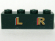 Part No: 3010pb099  Name: Brick 1 x 4 with Gold 'L R' Pattern (Sticker) - Set 10194