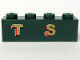 Part No: 3010pb100  Name: Brick 1 x 4 with Gold 'T S' Pattern (Sticker) - Set 10194