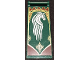 Part No: 30292pb026  Name: Flag 7 x 3 with Rod with Dark Red and Gold Ornaments and White Horse Pattern (Sticker) - Set 9474