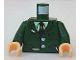 Part No: 973pb0336c01  Name: Torso Harry Potter Torn Suit with Buttons, Shirt and Tie Pattern / Dark Green Arms / Light Flesh Hands