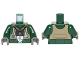 Part No: 973pb1330c01  Name: Torso SW Rebel A-wing Pilot with Dark Tan Vest and Black Front Panel with Breathing Apparatus Pattern / Dark Green Arms / Dark Bluish Gray Hands